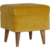 Product photograph showing Aqua Velvet Storage Footstool In Mustard And Oak Ish
