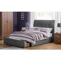 Aramis Fabric King Size Bed In Slate Grey Linen With Drawer