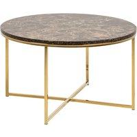 Arcata Round Marble Effect Glass Coffee Table In Matt Brown