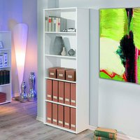 Product photograph showing Arco Wooden Bookcase In White With 4 Shelves