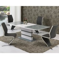 Product photograph showing Arctica Extending Dining Table In Grey And White With 6 Chairs