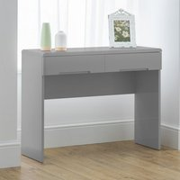 Product photograph showing Arden Wooden Dressing Table In Grey High Gloss With 2 Drawers