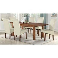 Areli Acacia Wood Extending Dining Set With 4 Cream Sika