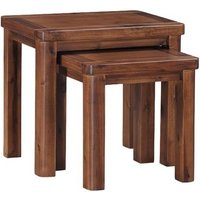 Areli Wooden Nest Of Tables In Dark Acacia Finish