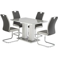 Product photograph showing Arena Grey Gloss Dining Table With 4 Samson Grey Chairs
