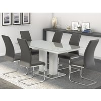Product photograph showing Arena Grey Gloss Glass Dining Table With 6 Soho Grey Chairs