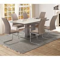Product photograph showing Arena Latte Glass Dining Table With 6 Soho Cappuccino Chairs