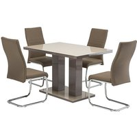Product photograph showing Arena Latte Gloss Dining Table With 4 Devan Taupe Chairs