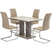 Product photograph showing Arena Latte Gloss Dining Table With 4 Moreno Taupe Chairs