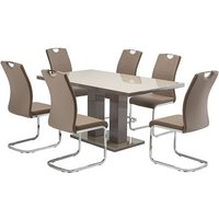 Product photograph showing Arena Latte Gloss Dining Table With 6 Aspen Latte Chairs