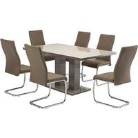 Product photograph showing Arena Latte Gloss Dining Table With 6 Devan Taupe Chairs