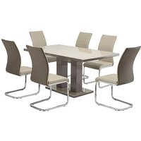 Product photograph showing Arena Latte Gloss Dining Table With 6 Jasper Taupe Chairs
