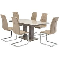 Product photograph showing Arena Latte Gloss Dining Table With 6 Moreno Taupe Chairs