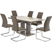 Product photograph showing Arena Latte Gloss Dining Table With 6 Soho Taupe Chairs