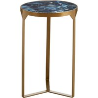 Arenza Agate Stone Round Side Table In Gold Metal Frame