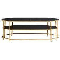 Product photograph showing Arezza Black Tempered Glass Coffee Table With Gold Frame