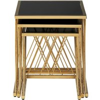 Product photograph showing Arezza Set Of 3 Glass Nesting Tables In Black And Gold