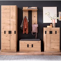 Product photograph showing Argos Wooden Hallway Furniture Set In Planked Oak