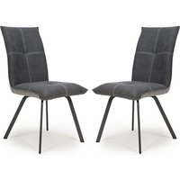 Product photograph showing Ariel Dark Grey Linen Effect Dining Chair In Pair