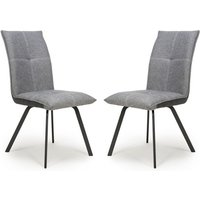 Product photograph showing Ariel Light Grey Linen Effect Fabric Dining Chairs In Pair
