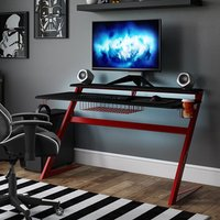 Product photograph showing Aries Carbon Fibre Effect Gaming Desk In Black And Red