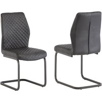 Product photograph showing Ark Grey Faux Leather Dining Chairs In Pair