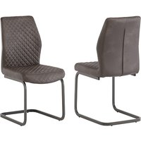 Product photograph showing Ark Taupe Faux Leather Dining Chairs In Pair