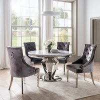 Arlesey Grey Marble Dining Table Round With 4 Charcoal