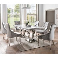 Arlesey Grey Marble Dining Table With 4 Enmore Pewter Chairs