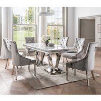 Arlesey Medium Marble Dining Table With 6 Enmore Pewter Chairs