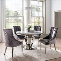 Product photograph showing Arlesey Round Marble Dining Table With 4 Enmore Pewter Chairs