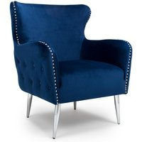 Armada Armchair In Brushed Velvet Ocean Blue With Chrome Legs