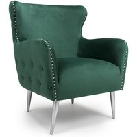 Armada Armchair In Brushed Velvet Green With Chrome Legs