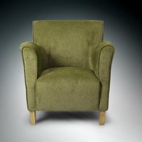 Product photograph showing Armada Modern Fabric Arm Chair In Olive With Wooden Legs