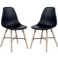 Arturo Black Bistro Chair With Oak Wooden Legs In Pair