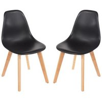 Product photograph showing Arturo Black Bistro Chair In Pair With Wooden Legs