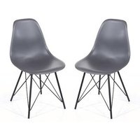 Product photograph showing Arturo Charcoal Bistro Chair In Pair With Black Metal Legs