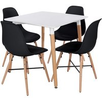 Product photograph showing Arturo Bistro Table Square In White With 4 Black Chairs