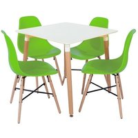 Product photograph showing Arturo Bistro Table Square In White With 4 Green Chairs