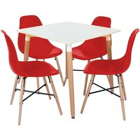 Product photograph showing Arturo Bistro Table Square In White With 4 Red Chairs