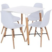 Product photograph showing Arturo Square Bistro Table Set In White With 4 Chairs