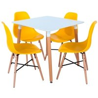 Product photograph showing Arturo Bistro Table Square In White With 4 Yellow Chairs