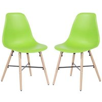 Product photograph showing Arturo Green Bistro Chair In Pair With Oak Wooden Legs