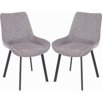 Arturo Grey Fabric Dining Chair In Pair With Metal Black Legs