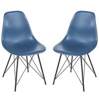 Product photograph showing Arturo Navy Blue Bistro Chair In Pair With Black Metal Legs