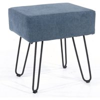 Product photograph showing Arturo Rectangular Fabric Stool In Blue With Metal Legs