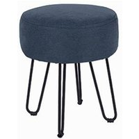 Product photograph showing Arturo Fabric Round Blue Stool With Metal Legs