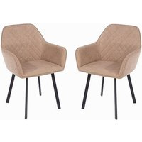 Arturo Sand Fabric Dining Chair In Pair With Metal Black Legs