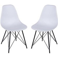 Product photograph showing Arturo White Bistro Chair In Pair With Black Metal Legs