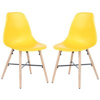Product photograph showing Arturo Yellow Bistro Chair In Pair With Oak Wooden Legs